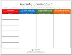 Anxiety and Stress Worksheets