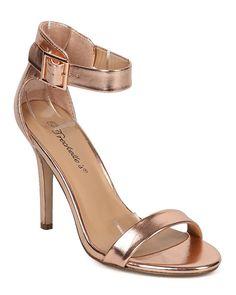 817b7cd2e00 Breckelles EB56 Women Metallic Open Toe Ankle Strap Single Band Stiletto  Sandal - Rose Gold -