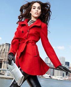 GUESS Coat, Funnel-Neck Wool-Blend Belted - Womens Coats - Macy's (colors: charcoal, red, and black)