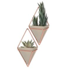 Update any space with a chic pyramidal wall vessel featuring coppery hardware that can house plants, office items or other knick knacks. * 4 x 2 x 7 * lbs. * Set of * Resin/metal/plastic. Rose Gold Room Decor, Rose Gold Rooms, Decoration Plante, Cute Room Decor, Room Ideas Bedroom, Plant Decor, Plant Wall, Wall Plant Holder, Room Inspiration