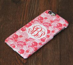 Pink and White floral pattern monogram iPhone 6 6 Plus 5S 5 5C Protective Case #998