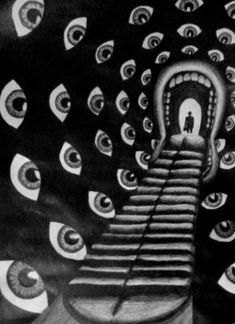 Le plus beau cauchemar 👀 Dali pour Hitchcock ! Psychedelic Art, Art Inspo, Art Noir, Arte Obscura, Art Et Illustration, Arte Horror, Grafik Design, Art Design, Surreal Art