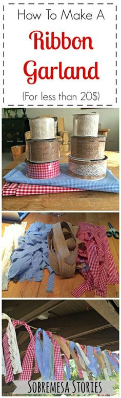 This rag garland is a great craft or decoration for Memorial Day and 4th of July parties! And SO easy!