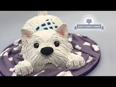 How to make a West Highland Terrier dog cake! (Westie) Just a simple one this week, let me know what other animal cakes you guys would like to see :) Tools a. West Highland Terrier, West Terrier, Highlands Terrier, Dog Cake Topper, Cake Topper Tutorial, Fondant Tutorial, Zoes Fancy Cakes, Puppy Birthday, Birthday Cake