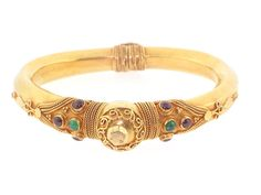 Emerald and Ruby Bangle Bracelet in 18K - Beladora Antique and  Estate Jewelry