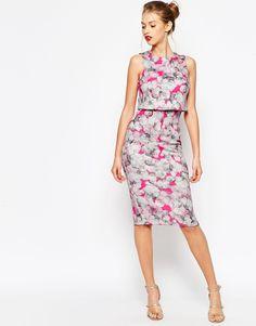 ASOS COLLECTION ASOS Neon Pink Crop Top Pencil Dress