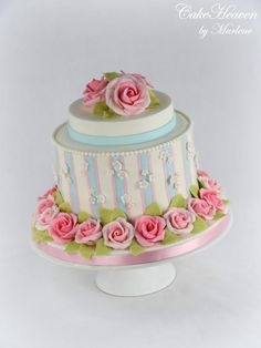 Striped Cake with Gumpaste Roses by CakeHeaven by Marlene