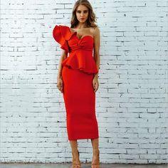 fbef42749 Amelia Hot Red Ruffle Dress – TGCboutique Vestidos Bellos, Vestidos Largos,  Vestidos Años 40