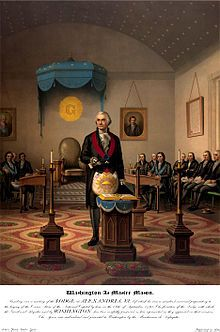 Freemasonry - Worshipful Master George Washington-Print from 1870 portraying George Washington as Master of his lodge