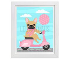 26G French Bulldog Print French Bulldog on Pink by leearthaus