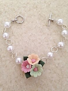 Polymer Clay Tri-Colored Rose Beaded Link Bracelet