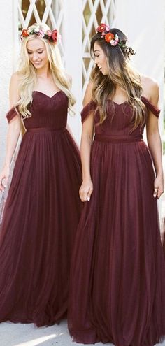 Off Shoulder Dark Red Tulle Bridesmaid Dresses 54841cedb002