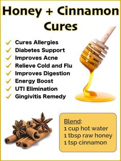 Cinnamon Health Benefits, Nutrition Facts and Side Effects Honey and Cinnamon Benefits and Natural Cures - Dr Axe Cold Remedies, Natural Health Remedies, Natural Cures, Natural Treatments, Natural Healing, Natural Foods, Herbal Remedies, Bloating Remedies, Natural Remedies For Allergies