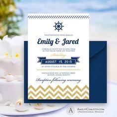 Printable Nautical Weddings Invitation Gold Chevron & by AmeliyCom https://www.etsy.com/listing/237418975/printable-nautical-weddings-invitation