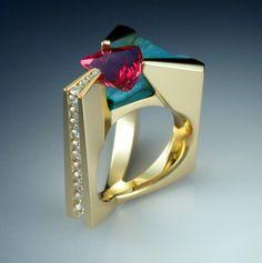 interesting, Diamond, Tourmaline, and Druse Chrysocolia. (metamorphosisjewelry on etsy)by John Biagiotti