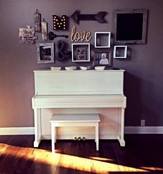 DIY Rustic Wall Decor For home. Decorate above piano. Wall #collage. #Photomontage.