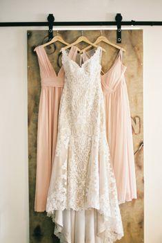 Red Rocks Cave Wedding Ceremony via Rocky Mountain Bride | blush bridesmaids dresses