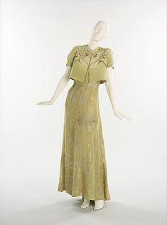 """Evening Ensemble:"" - : Elsa Schiaparelli for Henri Bendel. Date: 1938 Culture: French Medium: silk, metal"