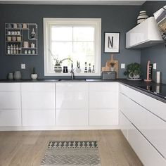 30 Nifty Small Kitchen Design and Decor Ideas to Transform Your Cooking Space - The Trending House White Ikea Kitchen, Grey Kitchen Walls, Kitchen Wall Colors, Grey Kitchens, Home Decor Kitchen, Kitchen Interior, New Kitchen, Home Kitchens, Awesome Kitchen