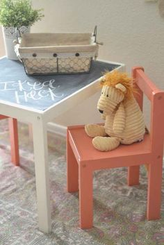 Add a chalkboard top to the Lack side table. Ikea hacks for kid stuff