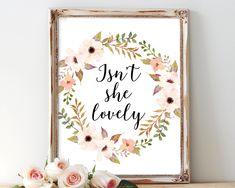 Isn't she lovely, printable art, nursery art, nursery wall art,nursery printable, baby girl nursery,instant download,wall art, nursery print by AdornMyWall on Etsy