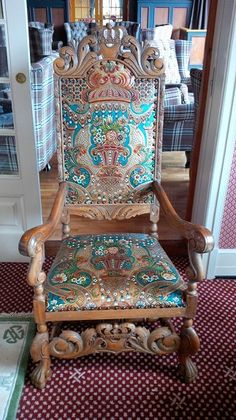 'King chair' with gilded leather made abt 1930 from Norway with Hardanger pattern.