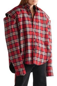Vetements - Oversized Cutout Plaid Cotton-flannel Shirt - Red -