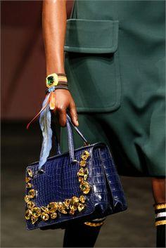 Prada blue and gold bag and bracelets-  2014