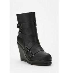 Buckled Moto Wedge Boot - these would be some great shoes for a cosplay