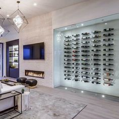 Top 80 Best Wine Cellar Ideas - Vino Room Designs Wine Cellar Modern, Glass Wine Cellar, Home Wine Cellars, Wine Cellar Design, Modern Wine Rack, Küchen Design, House Design, Appartement Design, Home Bar Designs