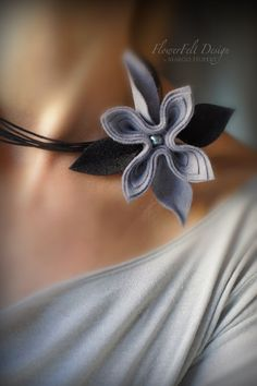 Felt necklace modern romantic flowers jewelry by MargoHupert, $16.00