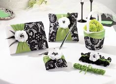 Black & Green Collection www.carlsbadweddingsupplies.com