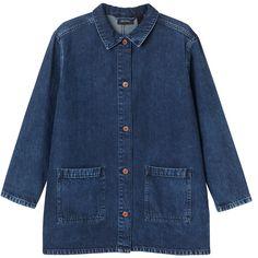 Monki Kajan denim Jacket (255 RON) ❤ liked on Polyvore featuring outerwear, jackets, tops, denim jackets, country blue, blue jean jacket, monki jacket, jean jacket, lightweight jackets and monki