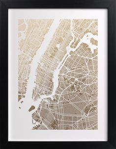 New York City Map Foil-Stamped Wall Art by Alex Elko Design | Minted
