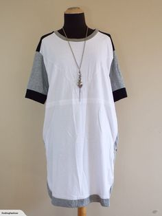 Thing Thing | Awesome White & Grey Slouch Dress (12-14) | Trade Me Thing Thing, Enlarge Photos, Close Up Photos, Buy Now, Cold Shoulder Dress, White Dress, Fashion Outfits, This Or That Questions, Grey