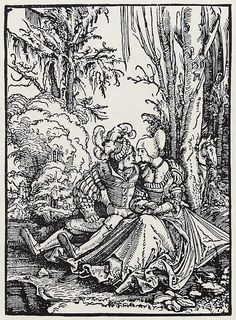 Title: Liebespaar              Tags: Kuhmaul shoes, Hat, Landsknecht, Trossfrau              Date: 1511                        Artist: Albrecht Altdorfer              Provenance: Germany              Collection: Kupferstichkabinett