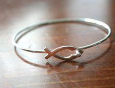 Christian Fish Symbol Bracelet Jesus Ichthus by kandsimpressions, $59.00