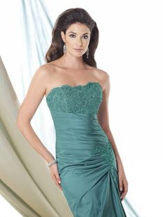 Fashion Strapless Green Taffeta Mother Of The Bride Dress With Jacket