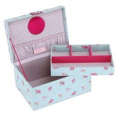 BUTTON IT Summer Fayre Medium Duck Egg Blue Floral Sewing Box with Lilac Gingham…