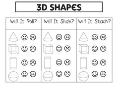 Shapes and its properties. I will use later as we go more into depth of the shapes 3d Shapes Worksheets, Shapes Worksheet Kindergarten, Preschool Math, Math Classroom, Math Worksheets, Kindergarten Math, Math Resources, Teaching Math, Math Activities