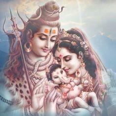 Lord Shiva, her beautiful wife Parvati & the cutest Ganesha Om Namah Shivaya, Om Gam Ganapataye Namaha, Sanskrit, Indian Gods, Indian Art, Hanuman, Durga, Saraswati Goddess, Kali Goddess