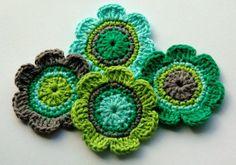 Crochet Embellishments Applique in Green Grey Aqua by AnnieDesign, $6.50