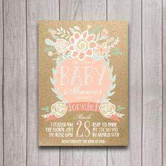 Boho Baby Shower Invitation Download Coral by INVITEDbyAudriana