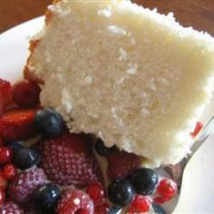 Moist Angel Food Cake. A wonderfully light sponge cake, that's not only delicious, but also low in fat and dairy-free! Enjoy with fresh berries or with a simple dusting of icing sugar. There are so many ways you can make this cake even more scrumptious than it is, all you have to do is use your imagination.