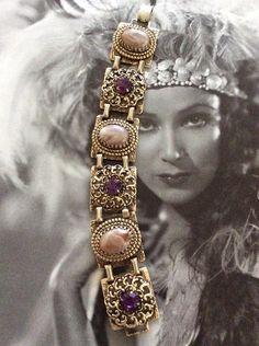 Vintage 1950s Bracelet Linked Gold Tone by GoodGoodyGirlsJewels