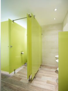 Over the top option: Glass stalls in a nice soft color like cream or blue or grey. Cafe Interior, Office Interior Design, Interior Exterior, Office Interiors, Office Bathroom, Bathroom Toilets, Bathroom Interior, Washroom, Toilette Design