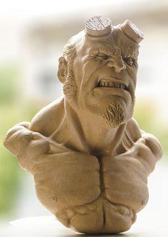 Hellboy Clay Sculpture Modeling Character Handmade Sticks Tools / Escultura  Hellboy  Personaje Plastilina Modelado Tradicional Estiques