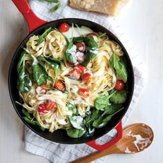 Creamy Mascarpone and Spinach Linguine | CookingLight.com