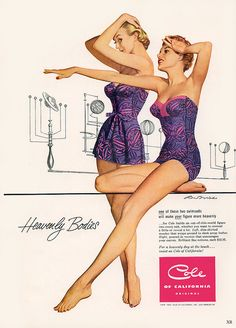 One of these two swimsuits will make your figure more heavenly! #vintage #ad #1950s #swimsuit #summer #purple