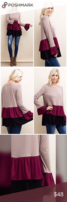 On the way!! Stunning color luxe fabric tunic! DOUBLE RUFFLE BOTTOM AND SLEEVE BOTTOM WITH CONTRAST COLORED TUNIC WITH HEAVY RAYON FABRICATION- IN TAUPE- BURGUNDY AND BLACK Tops Tunics
